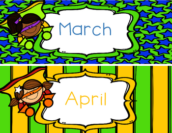 Superhero Months of the Year for Calendar