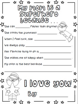 Superhero Mother's Day Writing