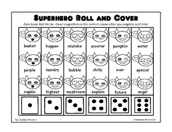 Superhero Multi-Syllable Words: A Roll and Cover Game