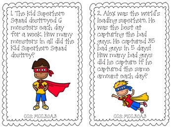 Superhero Multiplication and Division Word Problem Task Cards