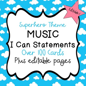 "Superhero Music ""I Can"" Statements  - Editable!"