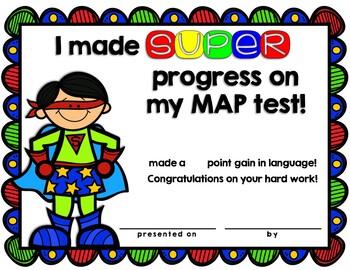 Superhero NWEA MAP Certificates and Goal Setting Sheets