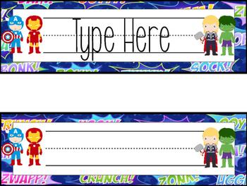 EDITABLE Superhero Name Plates