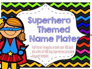 Superhero Theme Name Plate Templates