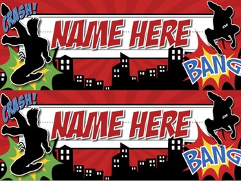 Superhero EDITABLE Name Plates