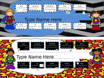 Superhero Name Plates/ Desk tags with reading and fluency
