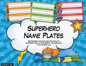 Superhero Name Plates, Name Tags