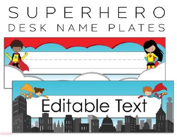 Superhero Name Plates / Tags ***Editable***