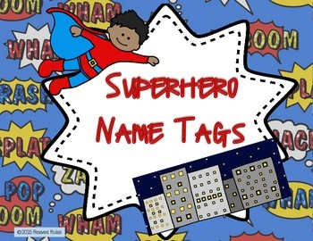 Superhero Theme Name Tags