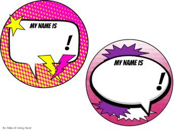 Superhero Name Tags