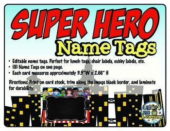 Superhero Name Tags {Editable Name Tags}