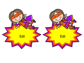Superhero Name Tags and Labels