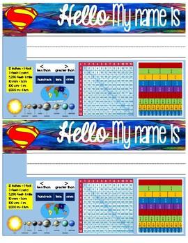 Superhero Name Tags for Math (Grades 3-5)