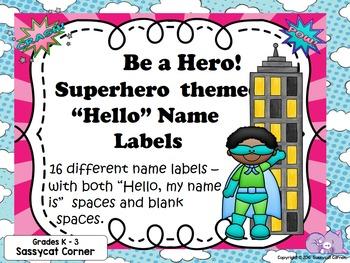 Superhero Name Tags for PreK - 3