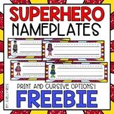 Superhero Nameplates - FREE! Superhero Classroom Theme Decor