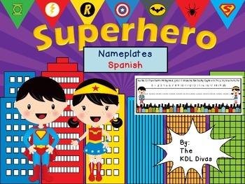 Superhero Nameplates: Spanish
