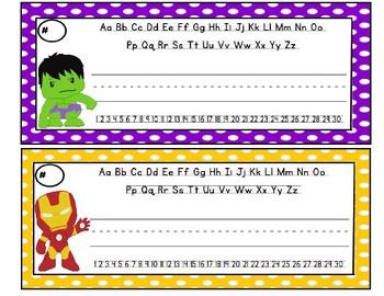 Avengers Superhero Name Tags