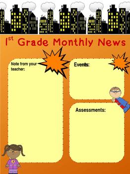 Superhero Newsletter (1st grade) **Editable**