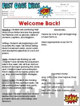 superhero newsletter template by busyamyb teachers pay teachers