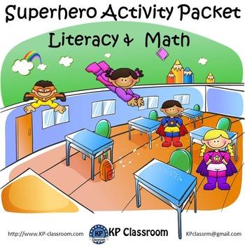 Superhero No Prep Literacy and Math Activity Packet Printa