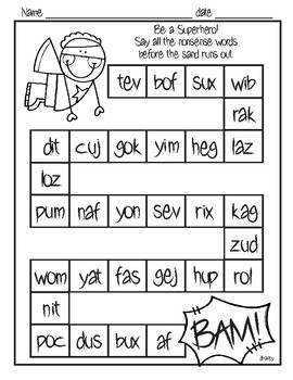Superhero Nonsense Word Practice