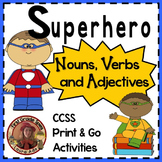 Superhero Nouns, Verbs, Adjectives Center with Posters and