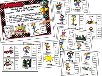 Superhero Nouns, Verbs & Adjectives Clip & Flip Language Arts Center
