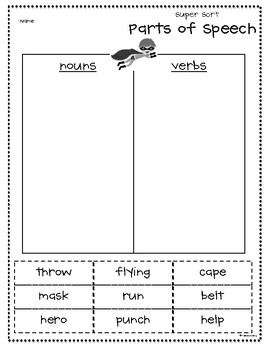 Superhero Nouns and Verbs