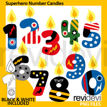 Superhero Number Candles Clip Art - Birthday Candles Clipart