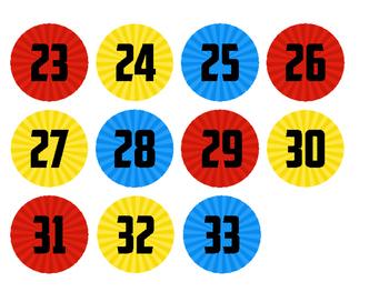 Superhero Theme Number Circles - 2 inch