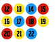 Superhero Theme Number Circles - 2 inch