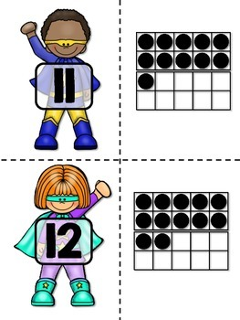 Superhero Ten-Frame Cards - Math Center for Primary Students