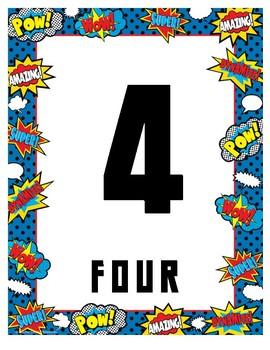 Superhero Number Line 0-20