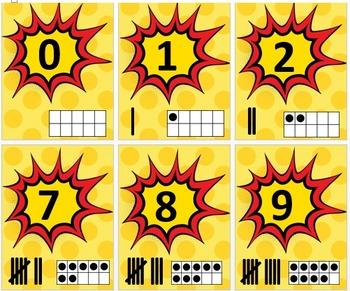Superhero Number Line Posters