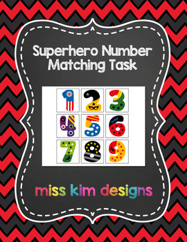 Superhero Number Matching Folder Game for students with Autism