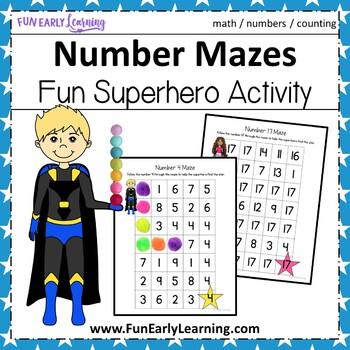 Superhero Number Mazes - No Prep Activity