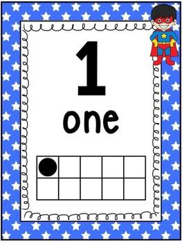 Superhero Number Posters 0-20