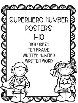 Superhero Number Posters 1-10