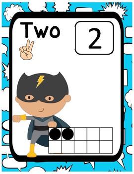 Superhero Number Posters 1-20