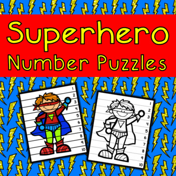 Superhero Number Puzzle Freebie