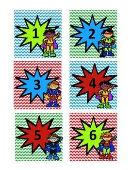 Superhero Number Tags