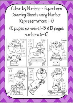Superhero Numbers 1-20 Bundle ~ Display Posters & Color by Number Printables