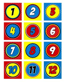 Superhero Numbers Circular (Super Hero Theme)