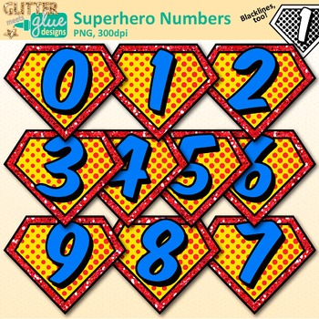 Superhero Math Numbers Clip Art {Great for Classroom Decor, Free Downloads}