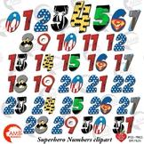 Superhero Numbers Clipart, {Best Teacher Tools} AMB-2110
