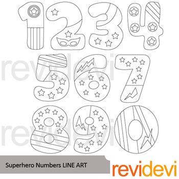 Superhero Numbers Line art - clip art blackline