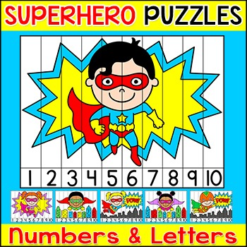 Number Sense Sequencing Puzzles and Letters Puzzles - Superhero Theme