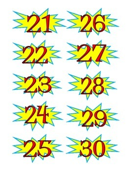 Superhero Numbers for Avery Business Cards 8371