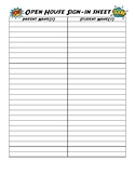 Superhero Open House Sign-In Sheet