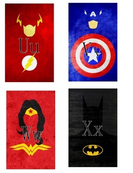 Superhero Outline Word Wall Letters